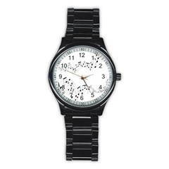 Music Note Song Black White Stainless Steel Round Watch