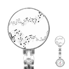 Music Note Song Black White Stainless Steel Nurses Watch by Alisyart