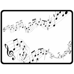 Music Note Song Black White Double Sided Fleece Blanket (large)  by Alisyart