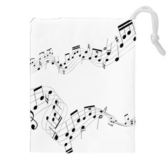 Music Note Song Black White Drawstring Pouches (xxl) by Alisyart