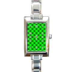 Plaid Flag Green Rectangle Italian Charm Watch by Alisyart