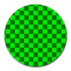 Plaid Flag Green Round Mousepads by Alisyart