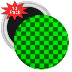 Plaid Flag Green 3  Magnets (10 Pack)