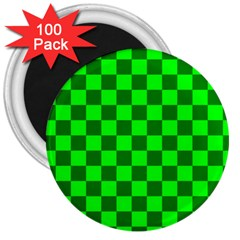 Plaid Flag Green 3  Magnets (100 Pack) by Alisyart