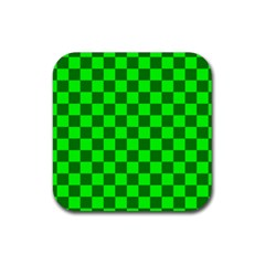 Plaid Flag Green Rubber Square Coaster (4 Pack)