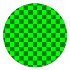 Plaid Flag Green Magnet 5  (round)