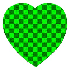 Plaid Flag Green Jigsaw Puzzle (heart) by Alisyart