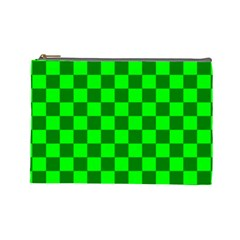 Plaid Flag Green Cosmetic Bag (large)