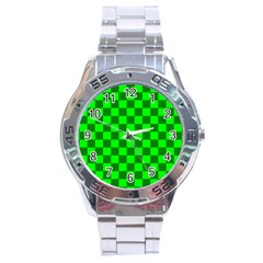 Plaid Flag Green Stainless Steel Analogue Watch