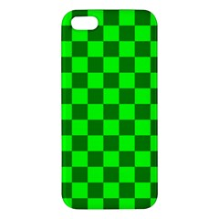 Plaid Flag Green Apple Iphone 5 Premium Hardshell Case by Alisyart