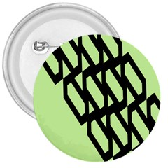 Polygon Abstract Shape Black Green 3  Buttons by Alisyart