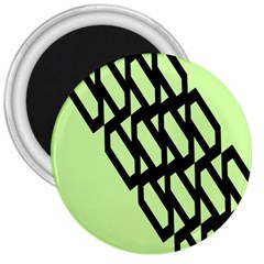 Polygon Abstract Shape Black Green 3  Magnets by Alisyart