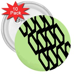 Polygon Abstract Shape Black Green 3  Buttons (10 Pack)  by Alisyart