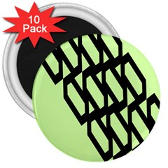 Polygon Abstract Shape Black Green 3  Magnets (10 Pack)