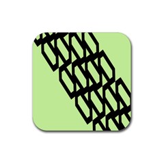 Polygon Abstract Shape Black Green Rubber Square Coaster (4 Pack)  by Alisyart