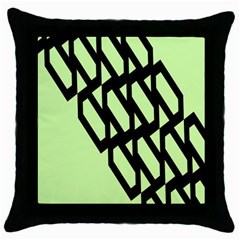 Polygon Abstract Shape Black Green Throw Pillow Case (black) by Alisyart