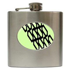 Polygon Abstract Shape Black Green Hip Flask (6 Oz) by Alisyart