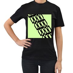 Polygon Abstract Shape Black Green Women s T Shirt (black) (two Sided) by Alisyart
