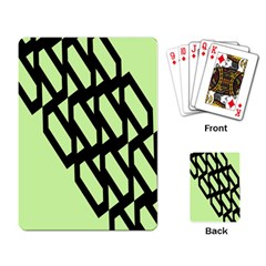 Polygon Abstract Shape Black Green Playing Card by Alisyart