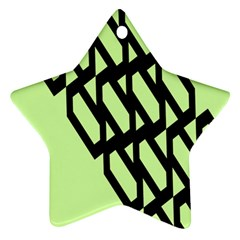 Polygon Abstract Shape Black Green Star Ornament (two Sides) by Alisyart