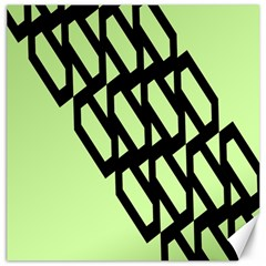 Polygon Abstract Shape Black Green Canvas 12  X 12