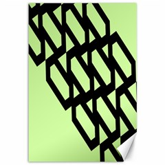 Polygon Abstract Shape Black Green Canvas 12  X 18   by Alisyart