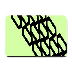 Polygon Abstract Shape Black Green Small Doormat