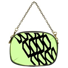 Polygon Abstract Shape Black Green Chain Purses (one Side)  by Alisyart