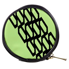 Polygon Abstract Shape Black Green Mini Makeup Bags by Alisyart
