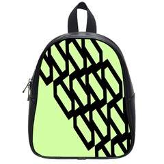 Polygon Abstract Shape Black Green School Bags (small)  by Alisyart