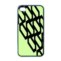 Polygon Abstract Shape Black Green Apple Iphone 4 Case (black)