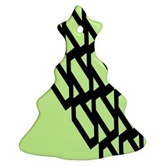 Polygon Abstract Shape Black Green Christmas Tree Ornament (two Sides) by Alisyart