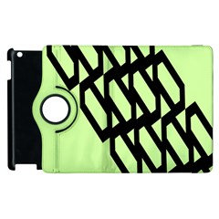Polygon Abstract Shape Black Green Apple Ipad 3/4 Flip 360 Case by Alisyart