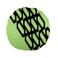 Polygon Abstract Shape Black Green Standard 15  Premium Round Cushions