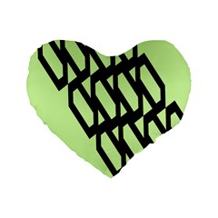 Polygon Abstract Shape Black Green Standard 16  Premium Heart Shape Cushions