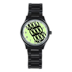 Polygon Abstract Shape Black Green Stainless Steel Round Watch by Alisyart