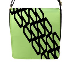 Polygon Abstract Shape Black Green Flap Messenger Bag (l)  by Alisyart