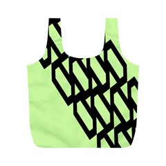 Polygon Abstract Shape Black Green Full Print Recycle Bags (m)  by Alisyart