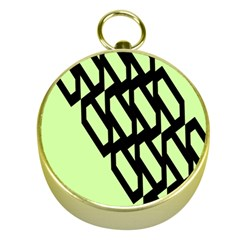 Polygon Abstract Shape Black Green Gold Compasses