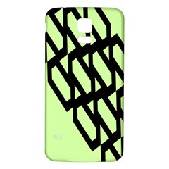 Polygon Abstract Shape Black Green Samsung Galaxy S5 Back Case (white) by Alisyart