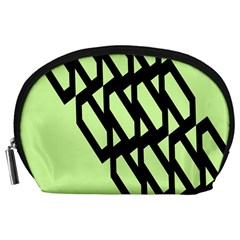 Polygon Abstract Shape Black Green Accessory Pouches (large)  by Alisyart