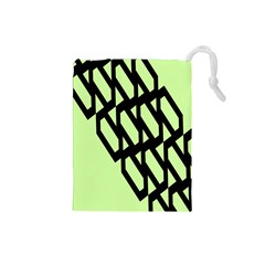 Polygon Abstract Shape Black Green Drawstring Pouches (small)  by Alisyart