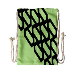 Polygon Abstract Shape Black Green Drawstring Bag (small) by Alisyart