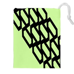 Polygon Abstract Shape Black Green Drawstring Pouches (xxl) by Alisyart