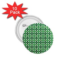 Green White Wave 1 75  Buttons (10 Pack)