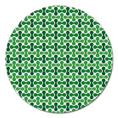 Green White Wave Magnet 5  (round) by Alisyart