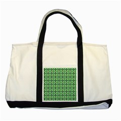 Green White Wave Two Tone Tote Bag