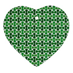 Green White Wave Heart Ornament (two Sides)