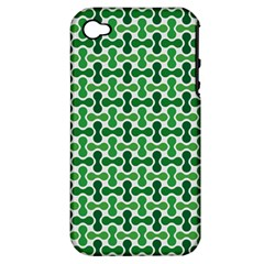 Green White Wave Apple Iphone 4/4s Hardshell Case (pc+silicone) by Alisyart