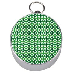 Green White Wave Silver Compasses by Alisyart